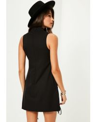 Missguided - Black Tab Neck Lattice Front Shift Dress - Lyst