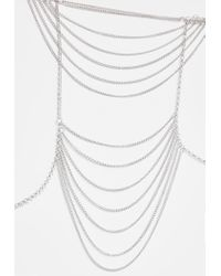 Missguided - Metallic Silver Drop Shoulder Chain - Lyst