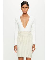 Missguided - Natural Peace + Love Nude Striped Pearl Embellished Midi Skirt - Lyst