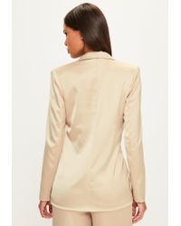 Missguided | Natural Peace + Love Nude Long Sleeve Double Breasted Blazer | Lyst