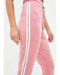 Missguided - Tall Pink Side Stripe Jogger - Lyst