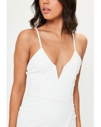 Missguided - White V Bar Strappy Wrap Over Bodycon Dress - Lyst