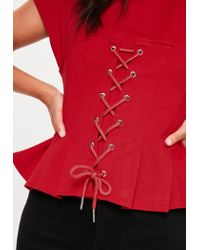 Missguided - Red Corset T-shirt - Lyst