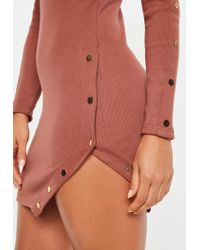 Missguided - Multicolor Rust Ribbed Long Sleeve Asymmetric Popper Dress - Lyst