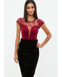 795aa1d73f Missguided Burgundy Lace Bodysuit in Red - Lyst