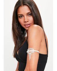 Missguided | Metallic Silver Diamante Arm Cuff | Lyst