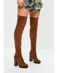 2bde74b333ae Missguided Tan Faux Suede Pleated Sole Over The Knee Boots in Brown ...