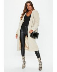 e793e2e2f539b Missguided Stone Collarless Teddy Coat in Natural - Lyst