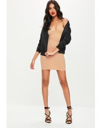 Missguided - Natural Nude Strappy Bodycon Dress - Lyst