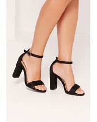 32212140b06 Lyst - Missguided Thick Strap Block Heel Barely There Sandals Black ...