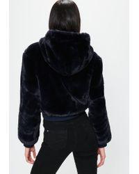Missguided - Blue Londunn + Navy Faux Fur Hooded Jacket - Lyst