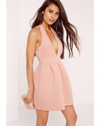 Missguided Bonded Scuba Cross Neck Skater Dress Nude in Natural - Lyst 91c91acad