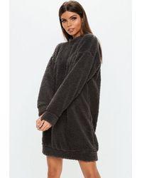 8135c8b933b Missguided Grey Borg Teddy Crew Neck Sweatshirt Dress in Gray - Lyst