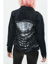 Missguided - Black Denim Metallic Shredded Back Jacket - Lyst