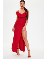Missguided - Petite Red Frill Maxi Dress - Lyst