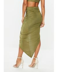 Missguided - Green Khaki Disco Slinky Midi Aysmmetric Skirt - Lyst