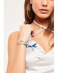Missguided | Metallic Silver 2 Pack Rope Tie Bracelets | Lyst