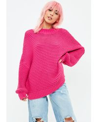 Missguided - Pink Knitted Drop Shoulder Sweater - Lyst