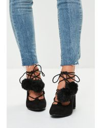 5d74079e1900 Lyst - Missguided Black Pom Pom Lace Up Closed Toe Block Heels in Black