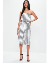 c1273f8d3551 Missguided White Stripe Bardot Culotte Jumpsuit in White - Lyst