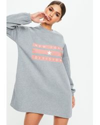 7d54e6cc0ad Missguided Grey Logo Brush Back Oversized Sweater Dress in Gray - Lyst