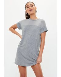 Missguided - Gray Grey Mesh T-shirt Dress - Lyst