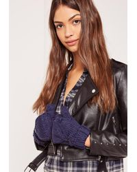 Missguided - Blue Navy Knitted Mittens - Lyst