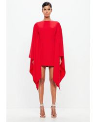 df97db7096c Missguided Peace + Love Red Kimono Sleeve Midi Dress in Red - Lyst