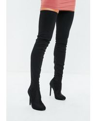 a84ccb9e7437 Missguided Black Round Toe Over The Knee Heeled Boots in Black - Lyst