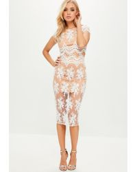 Missguided - Natural Camel Mesh Scalloped Edge Lace Top - Lyst