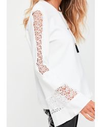 Missguided | White Lace Flared Sleeve Top | Lyst
