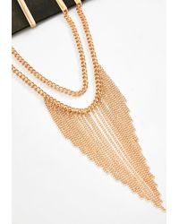 Missguided | Black Faux Leather Tassel Choker Necklace | Lyst