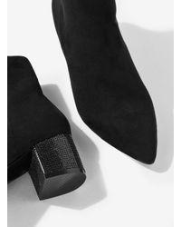 Miss Selfridge - Ariana Black Embellished Sock Boots - Lyst