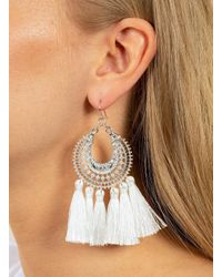 Miss Selfridge - White Engraved Tassel Earrings - Lyst