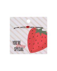 Miss Selfridge - Pink 'you're Berry Special' Bracelet - Lyst