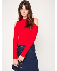 Miss Selfridge | Knitted Red Cold Shoulder Rib Top | Lyst