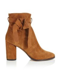 Miss Selfridge | Brown Alixe Tan Suede Wrap Boots | Lyst