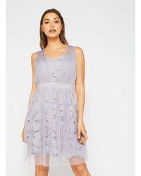 Miss Selfridge - Purple Lilac Lace Mesh Dress - Lyst