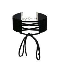Miss Selfridge - Black Tie Up Check Choker - Lyst