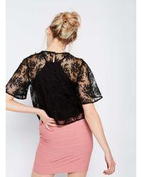 Miss Selfridge - Black Lace Ruffle Blouse - Lyst