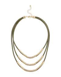 Miss Selfridge - Metallic Khaki Cord Multi Row - Lyst