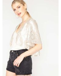 Miss Selfridge | Multicolor Premium Metallic Lace Cropped Jacket | Lyst