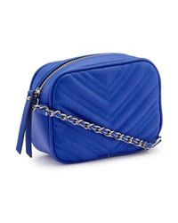 Miss Selfridge - Blue Quilted Cross Body Bag - Lyst