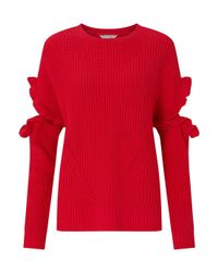 Miss Selfridge - Red Frill Elbow Knitted Jumper - Lyst