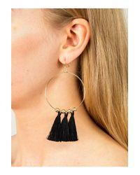 Miss Selfridge - Black Tassel Ball Hoop Earrings - Lyst