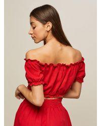 4fd6d857ae540b Lyst - Miss Selfridge Petite Red Denim Tie Front Crop Top in Red
