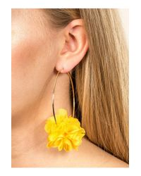 Miss Selfridge - Yellow Fabric Flower Hoop Earrings - Lyst