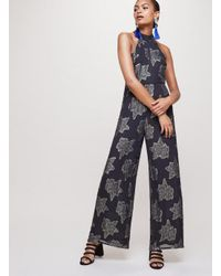 61963b85078 Miss Selfridge Black Lurex Floral Bow Neck Jumpsuit in Black - Lyst