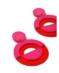 Miss Selfridge - Pink Retro Circle Earrings - Lyst