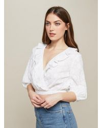 Miss Selfridge - White Embroidered Half Sleeve Crop Blouse - Lyst